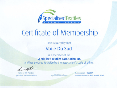 Certificate of membership shade cloth textiles