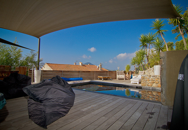 shade sails pool-side La Ciotat France