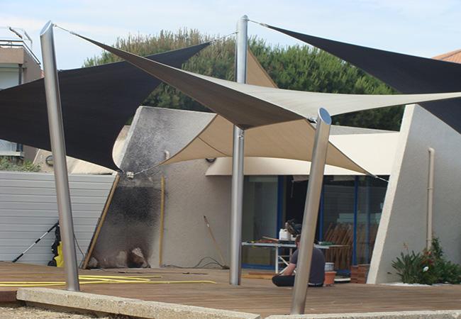shade sail installation post Saint-Tropez, Juan-les-Pins